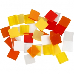 Mini-mosaïque 10x10 mm mix jaune orange 25 gr
