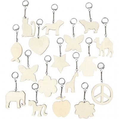 porte clefs en bois 7x7 cm assortiment 128 pieces