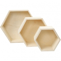 boites de rangement hexagone assortiment 3 pieces