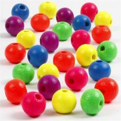 perles en bois fluo 8 mm 300 pieces