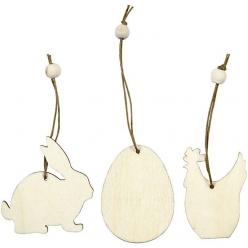 suspension bois paques 6 cm 9 pieces