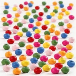 perles en bois colore assortiment 4 mm 300 gr
