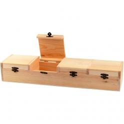 boite en bois avec comportiments 47x12x8 cm