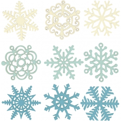decors en bois flocon de neige  9pcs