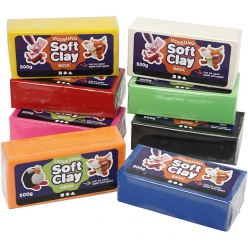 Pâte à modeler Soft clay, assortiment 8x500gr