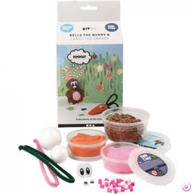 kit funny friends lapin en pate silk et foam clay
