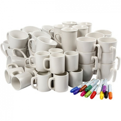 kit decoration de tasses en porcelaine 38 enfants