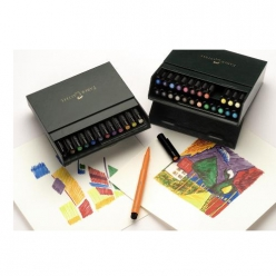 coffret de 24 feutres pitt studio box simili cuir