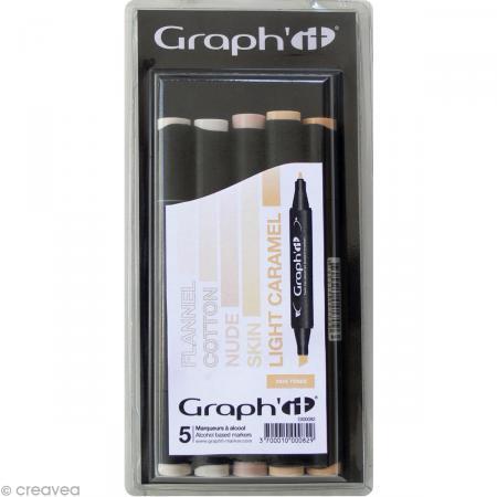 graph it set 5 marqueurs  skin tones