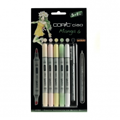 Set COPIC CIAO 5+1 5 couleurs Manga 6 + 1 Multiliner