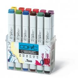 set copic marker  12 couleurs vives