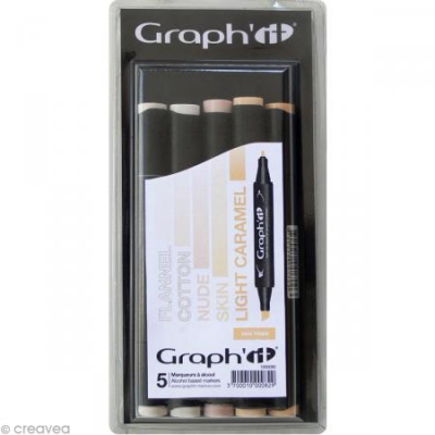 graph it set 5 marqueurs  skin tones