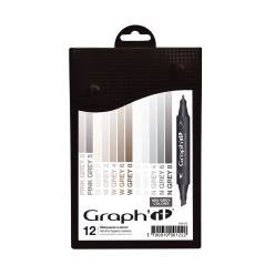 GRAPH'IT Set 12 marqueurs - Mix Grey colors