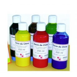 Encre de Chine - Lot de 6 flacons 250 ml de couleur