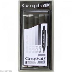 set 5 marqueurs graph it  grey tones