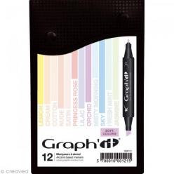 graph it set 12 marqueurs  soft colors