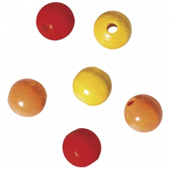 Assort. perles en bois , 8mm ø, orange, rouge, jaune