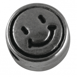 Perle en métal,  Smiley  , 7mm ø, 5 pc