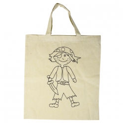 Sac en coton, avec impression Pirate, 38x42 cm