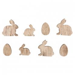 miniatures en bois lapins et oeufs 2 3 cm