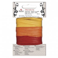 Raphia Premium  en papier jaune/orange/rouge