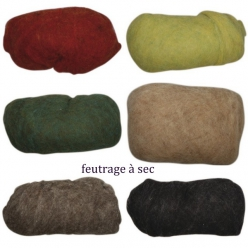 laine vierge mouchetee toison pour feutrage a sec