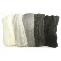 laine cardee merino extra fine 18 mic teinte noire blanche grise