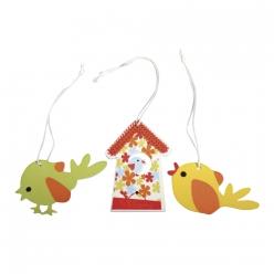 pendentif en bois oiseaux 3 55 cm