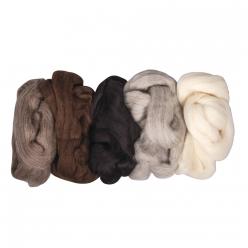 laine vierge cardee lot de coloris naturels