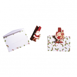 pinces en bois pere noelelfe avec enveloppe