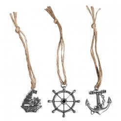 pendentif en metal avec cordon en jute 35 cm