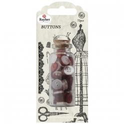 boutons couture 72 pieces rouge classique