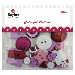 melange de boutons fantaisies rougerose 42 pieces