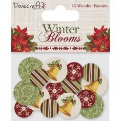 boutons en bois winter blooms 16 pieces