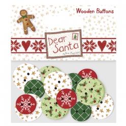boutons en bois dear santa 16 pieces