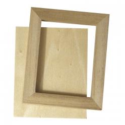 cadre en bois avec paroi arriere 8x65cm 2pc