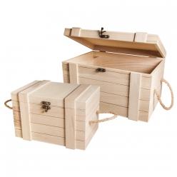 set de coffres en bois 30cm et 24 cm