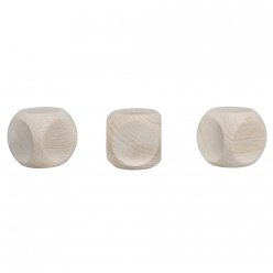 Cubes en bois 30x30mm, lot de 3pces