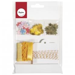 kit avec paillettes rubans et tags