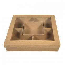 boite carre 25x25x5cm 5 compartiments