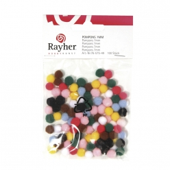 Lot de pompons assortis 7 mm (100 pc)