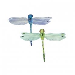 libellule en plumes bleu vert 9 cm  2pcs