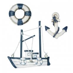 petits objets en polyresine bateau de peche 3 pieces