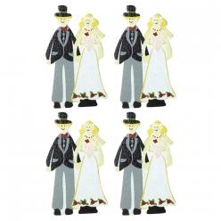 miniatures en bois jeunes maries 35 cm