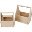 paniers en bois brut assortiment 3 pieces
