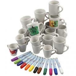 lot de tasses porcelaine avec marqueurs 48 enfants