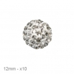 lot 10 perles shamballa 12mm o cristal